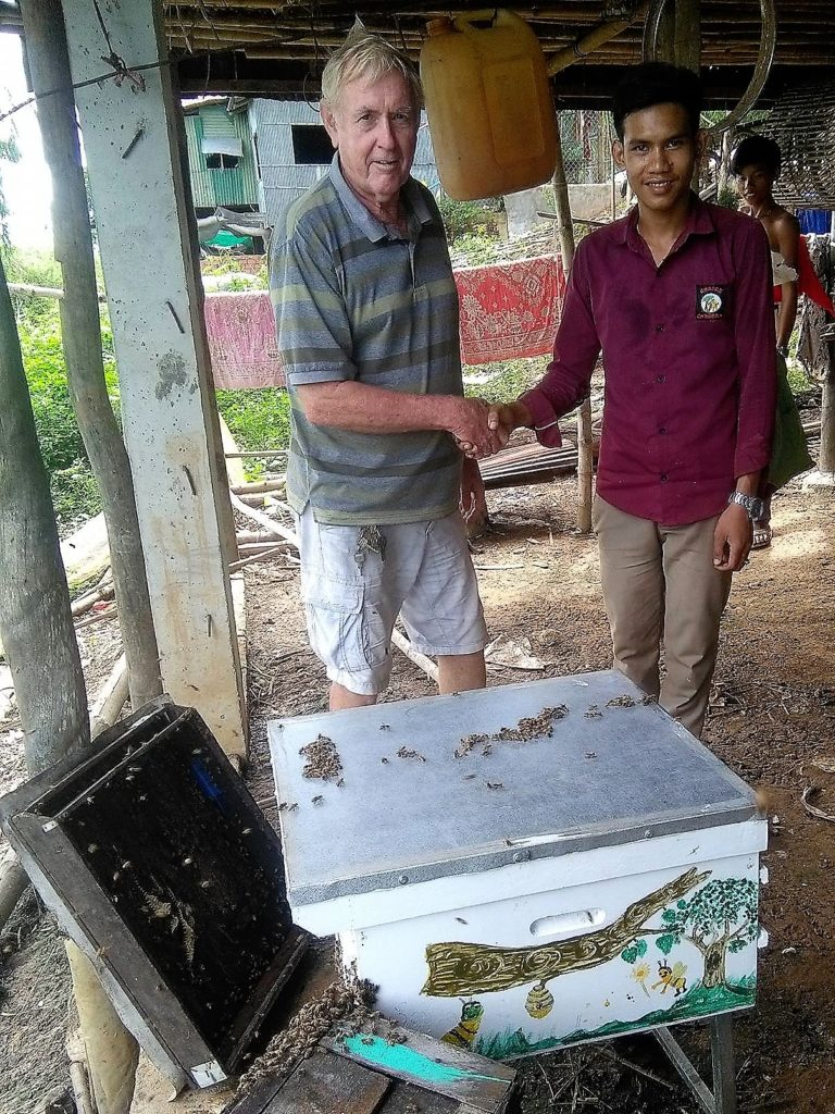 Sarith Laeng receiving his bees.
