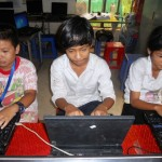 Students on the new laptops