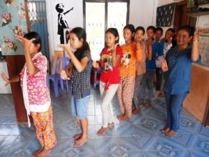 Learning Apsara dance.